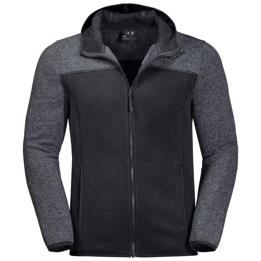 the best attitude 92041 d0a70 Jack Wolfskin Mens Elk Hooded Fleece Jacket - Black £59.50